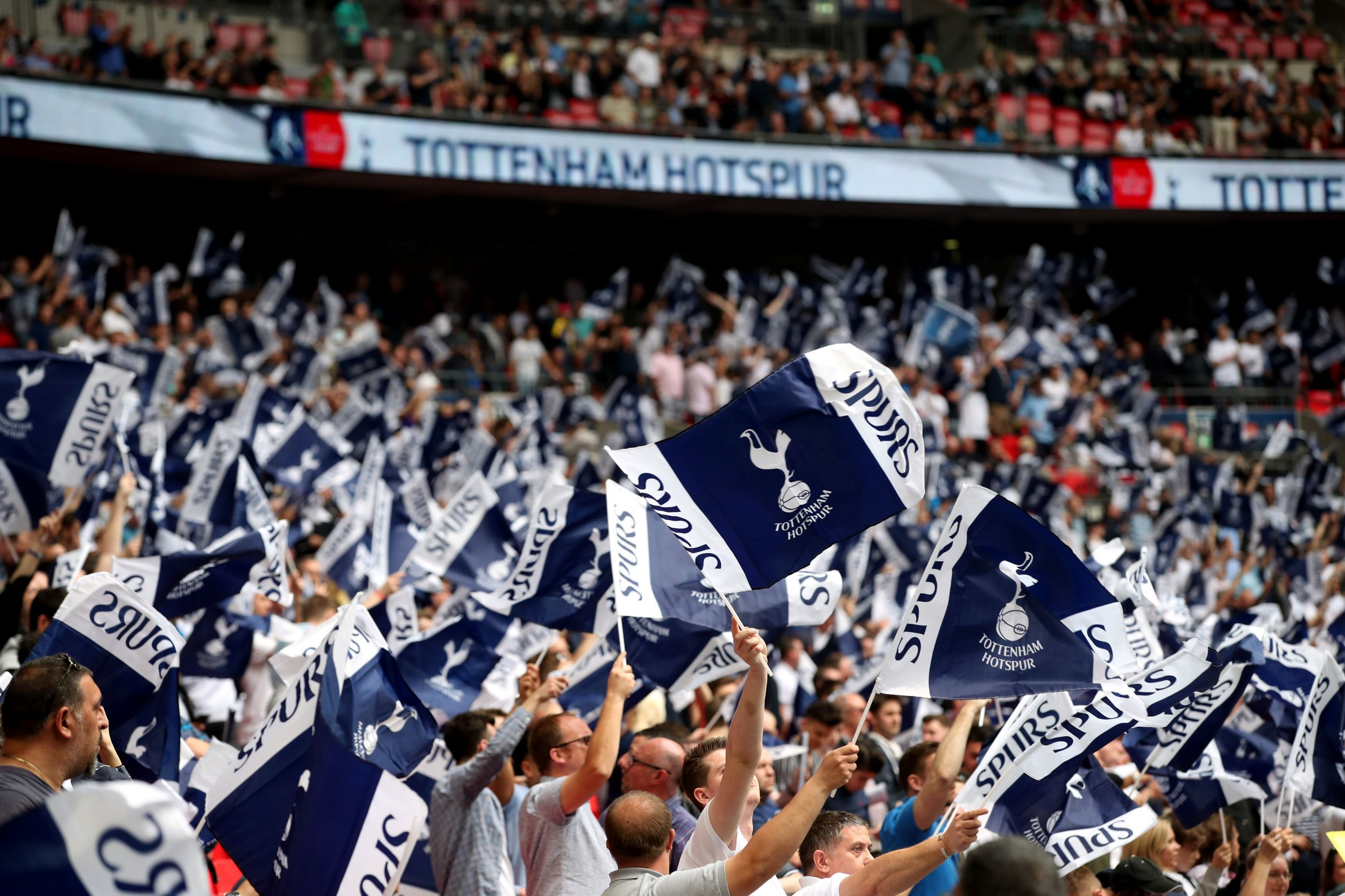 """Tottenham Hotspur fans in the stands during the Emirates FA Cup semi-final match at Wembley Stadium, London. PRESS ASSOCIATION Photo. Picture date: Saturday April 21, 2018. See PA story SOCCER Man Utd. Photo credit should read: Adam Davy/PA Wire. RESTRICTIONS: EDITORIAL USE ONLY No use with unauthorised audio, video, data, fixture lists, club/league logos or """"live"""" services. Online in-match use limited to 75 images, no video emulation. No use in betting, games or single club/league/player publications."""