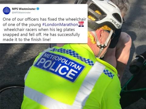 Police officer fixes wheelchair of London Marathon racer