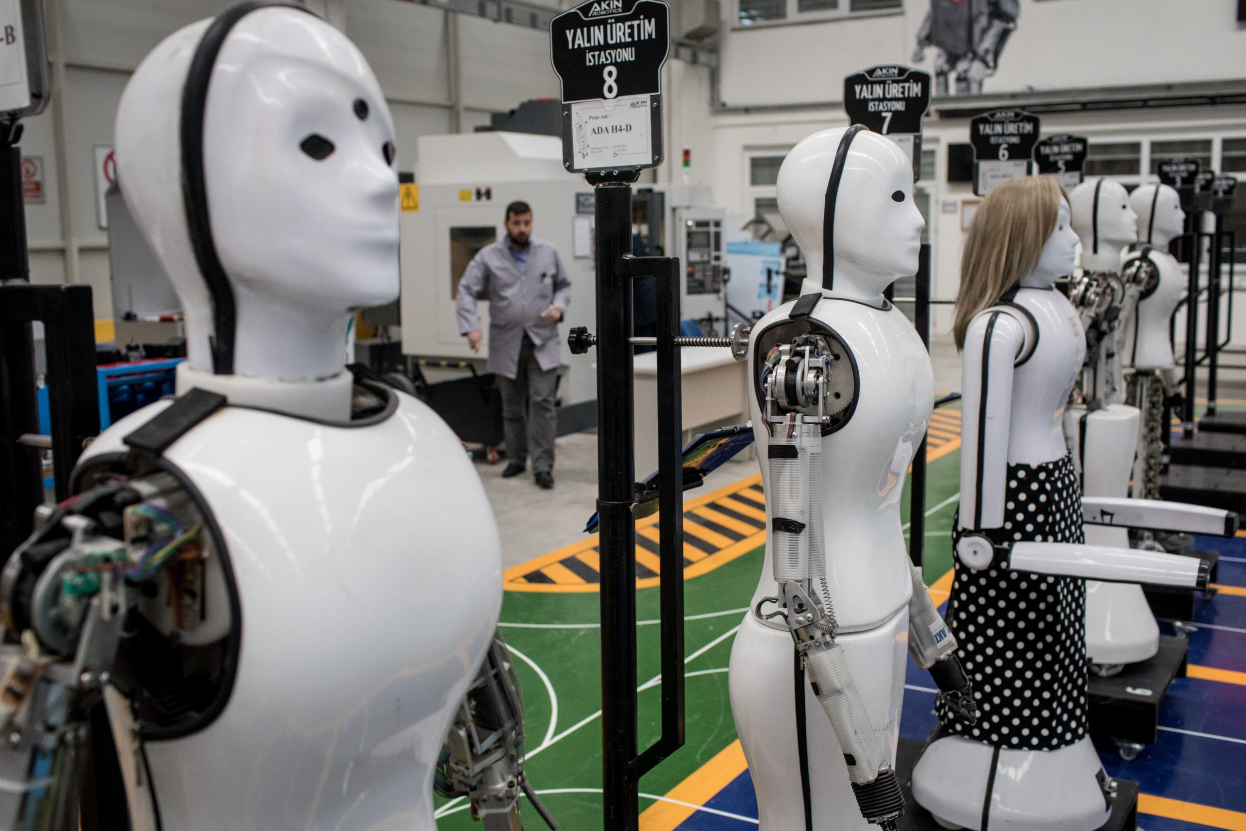 KONYA, TURKEY - MARCH 15: Early test robots are seen on display at the Akin Robotics factory on March 15, 2018 in Konya, Turkey. Akin Robotics is Turkey's first humanoid robotics factory and one of the first in the world to start mass production. The GH5 model and a new model the ADA Mini are programmed to work in shopping malls, airports, hospitals and homes. The robots are able to speak, recognize faces, use the internet and process what they see, hear and smell. The ADA Mini will be deployed at Istanbul's new third airport to open later this year, to assist people with checkin and airport information. (Photo by Chris McGrath/Getty Images)