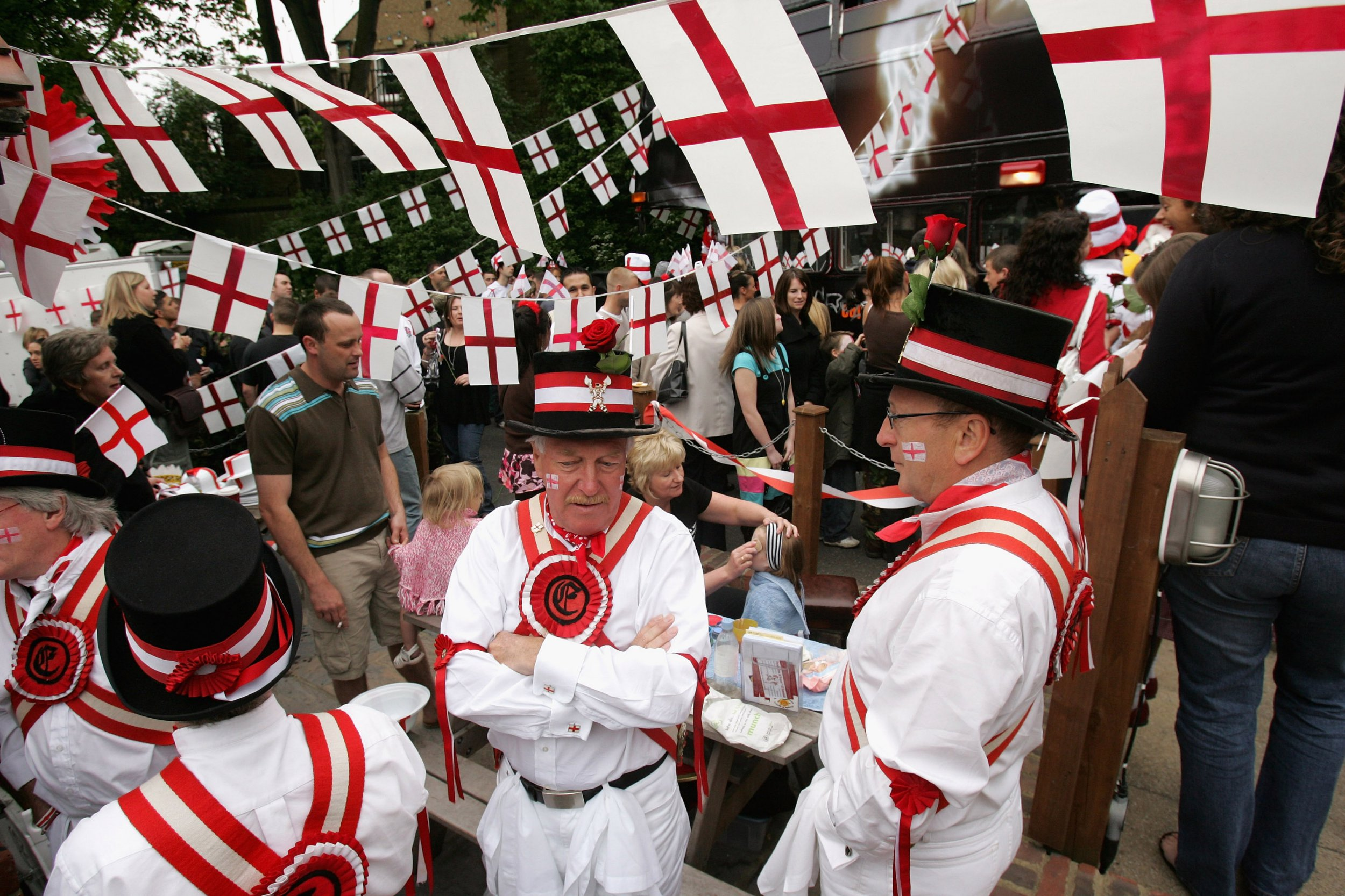 LONDON - APRIL 23: Morris Dancers are seen during the Capital Radio St Georges Day Recording at Ye Old St Georges Pub in Beckenham on April 23, 2007 in London, England. (Photo by Chris Jackson/Getty Images)