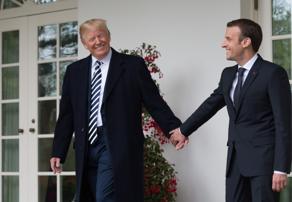 Mandatory Credit: Photo by Jacques Witt/SIPA/REX/Shutterstock (9641533o) Donald Trump and Emmanuel Macron. Us President Donald Trump and his wife Melania welcomes French President Emmanuel Macron aznd his wife Brigitte French President Emmanuel Macron and his wife Brigitte at the White House. Washington, USA-24/04/2018//JACQUESWITT_Maisonblanche013/Credit:Jacques Witt/SIPA/1804242214 French President Emmanuel Macron visit to USA - 24 Apr 2018