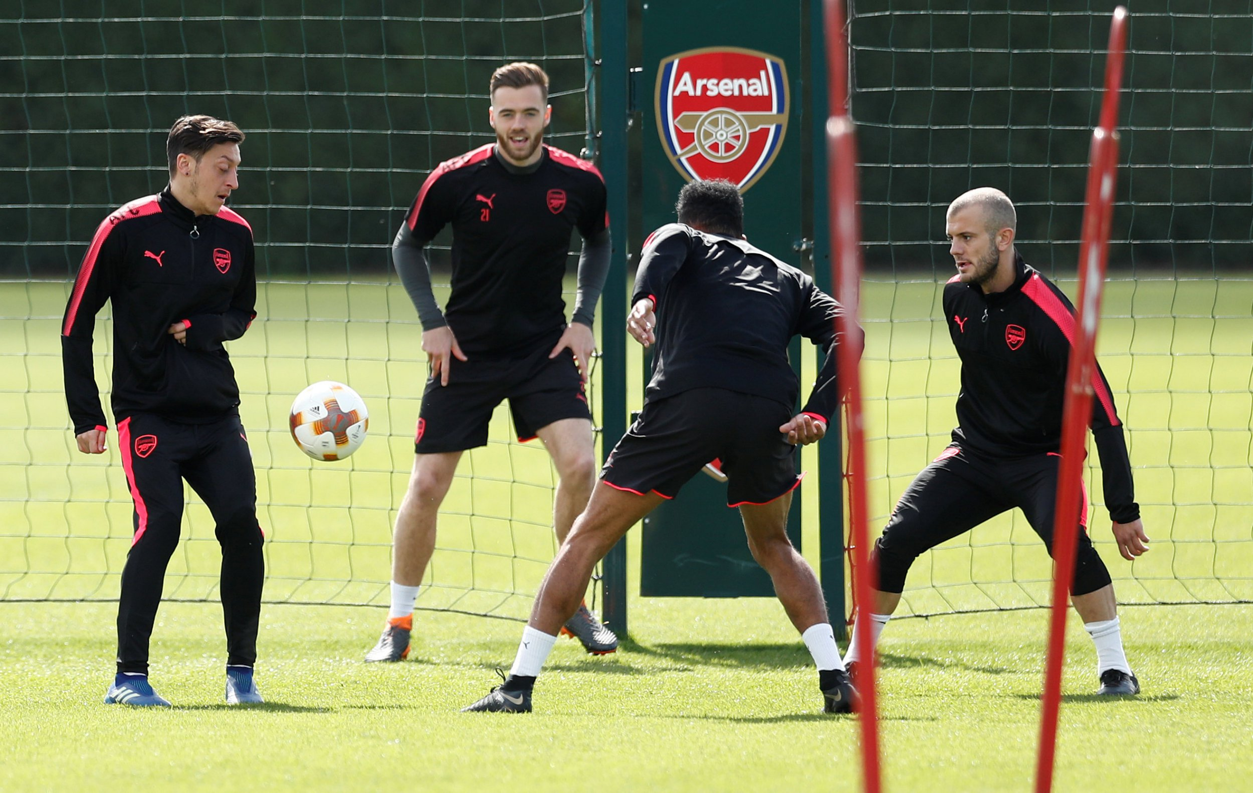 Mesut Ozil, Jack Wilshere and Petr Cech train ahead of Arsenal's Europa League clash with Atletico Madrid