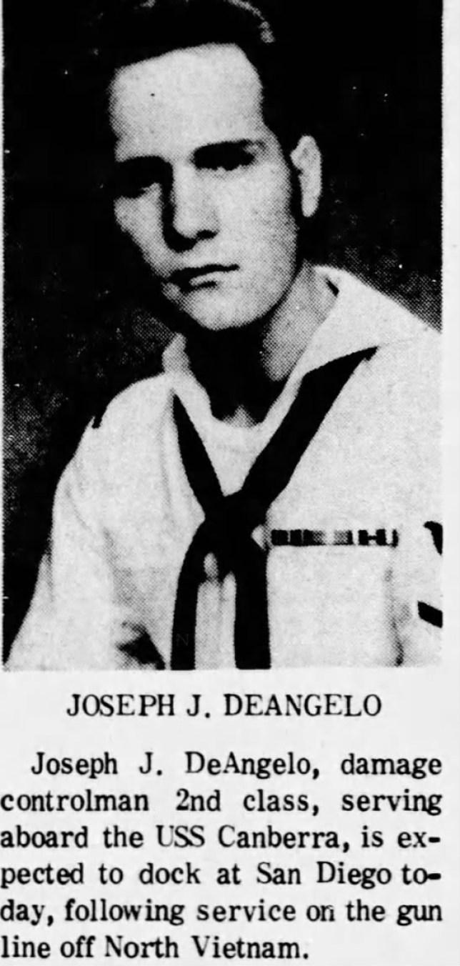 1967 newspaper clipping - photo shows Joseph J Deangelo