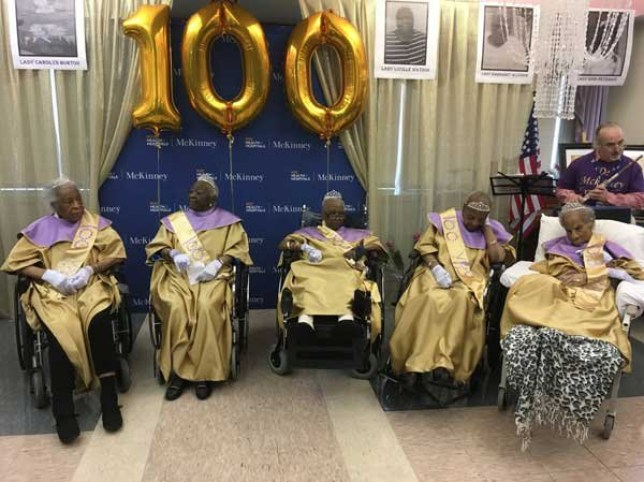 (Picture: McKinney Nursing and Rehabilitation Center) Staff at an East Flatbush nursing home toasted a half-dozen female residents for reaching triple digits at a March 28 bash celebrating the oldsters and the culmination of Women?s History Month. The women ? 100 year-olds Rebecca Gilmore, Carolyn Burton, and Caroline Binns; 101 year-old Margaret Alcindor; 103 year-old Enid Peterkin; and Lucille Watson, who will turn 100 on April 22 ? all received well-wishes for their milestone birthdays at the event.