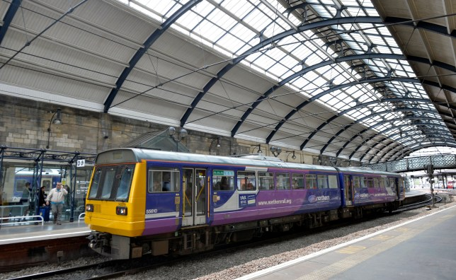 A Northern Rail train at Newcastle Central Station.