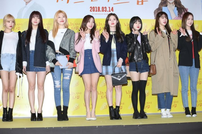 Mandatory Credit: Photo by Imaginechina/REX/Shutterstock (9451665r) Members of South Korean girl group UNI.T 'Cheese in the Trap' film premiere, Seoul, South Korea - 07 Mar 2018