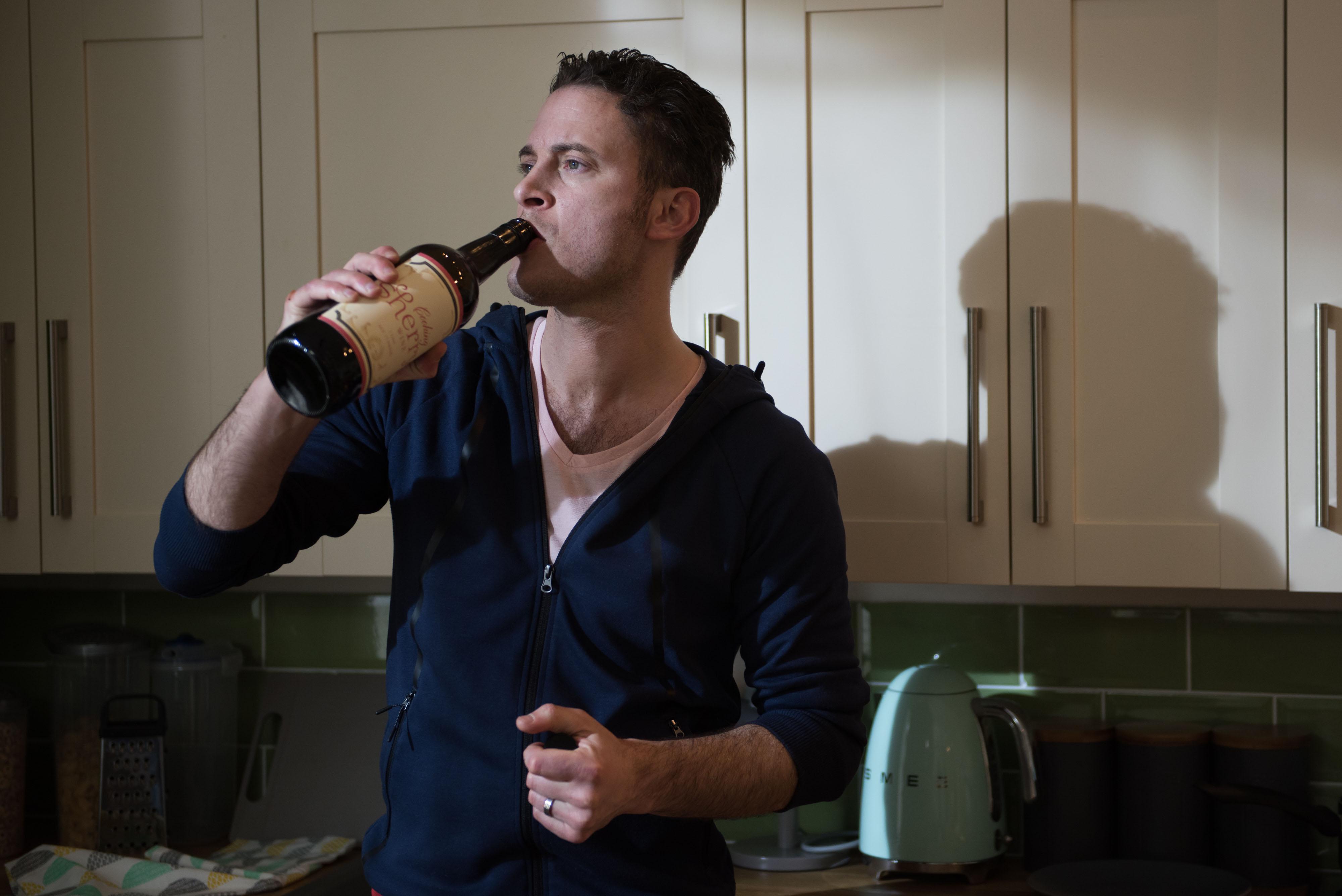 Luke is drinking again in Hollyoaks