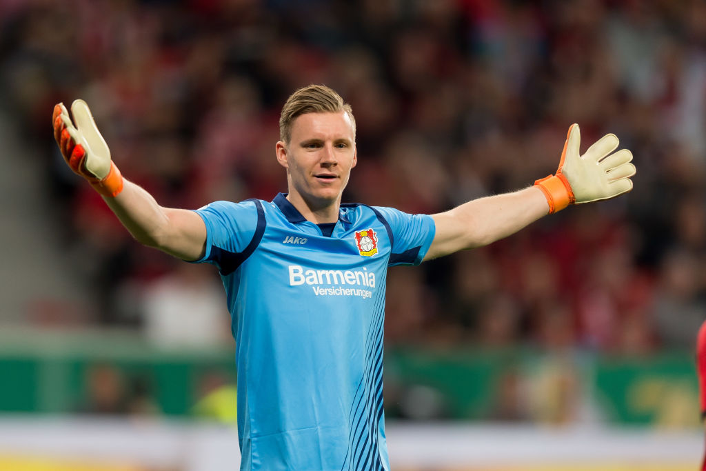 LEVERKUSEN, GERMANY - APRIL 17: Goalkeeper Bernd Leno of Leverkusen gestures during the DFB Cup semi final match between Bayer 04 Leverkusen and Bayern Munchen at BayArena on April 17, 2018 in Leverkusen, Germany. (Photo by TF-Images/Getty Images)