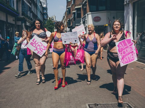 Campaigners and TV stars strip off in Soho to promote body positivity