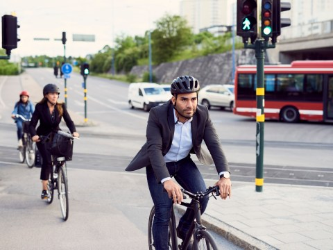 Where should you never overtake a cyclist?