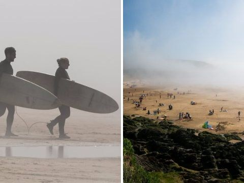 Mysterious mist descends on Devon beach on one of hottest days of the year