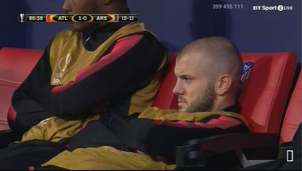 Jack Wilshere perfectly sums up Arsenal's defeat to Atletico Madrid with his reaction on the bench