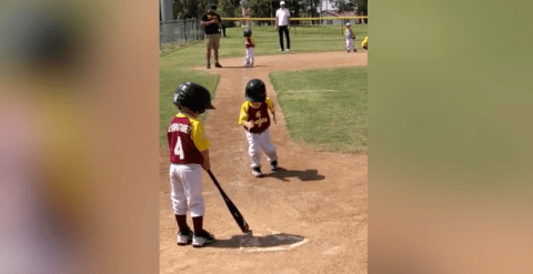 Three-year-old baseball player has crowd in hysterics as he runs in slow motion