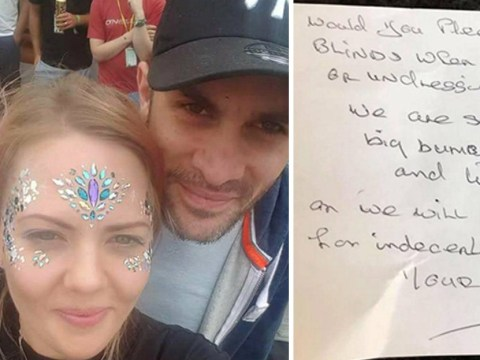 Neighbours' note says they are sick of seeing couple's 'big boobs and little willy'
