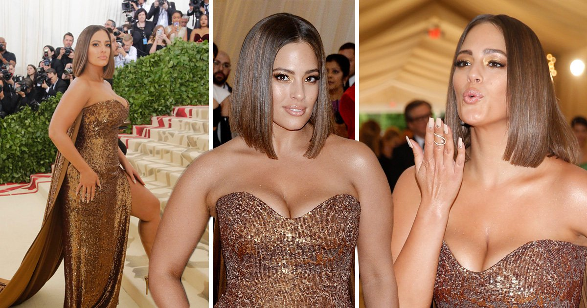 Ashley Graham is a flawless bronze goddess as she flashes pins on Met Gala red carpet