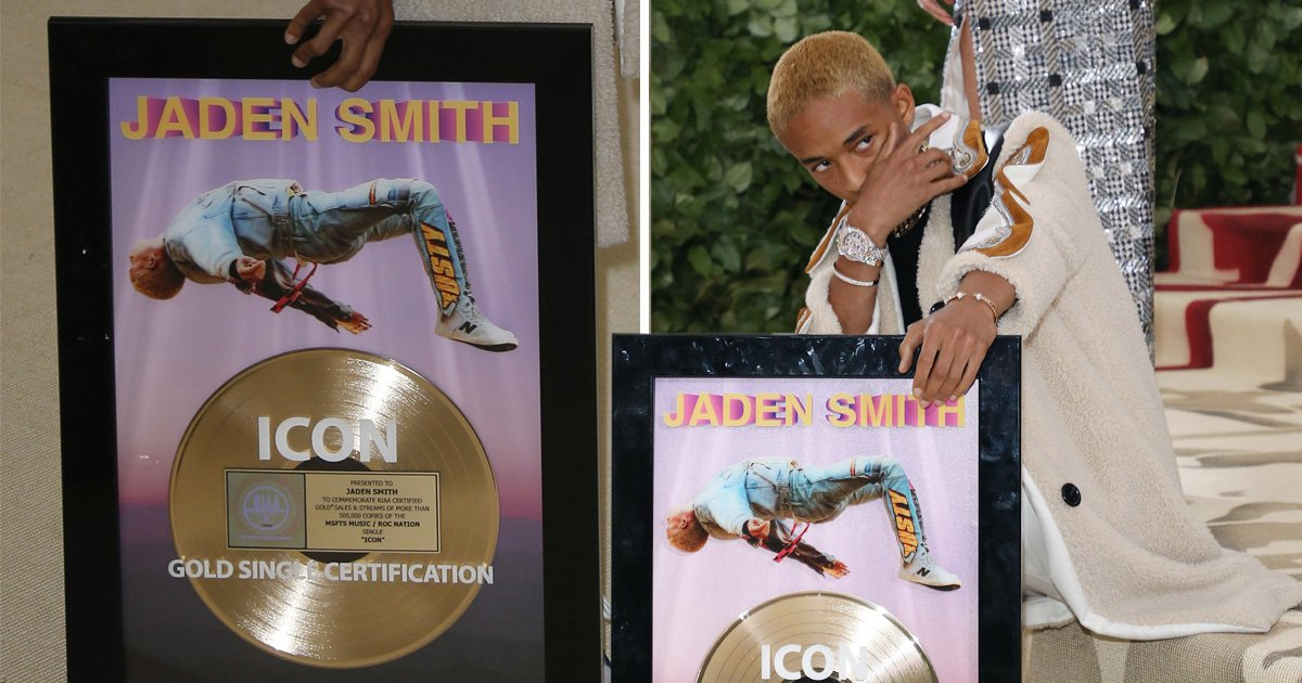 Jaden Smith brought his gold disc as his date to the Met Gala