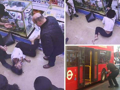 Woman, 18, collapses in agony in CCTV footage moments after 'acid attack' on bus