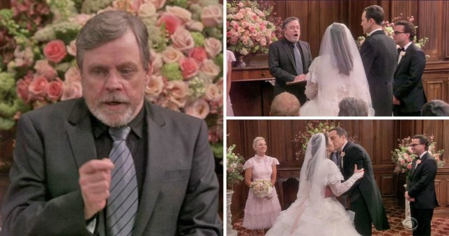 Amy and Sheldon get married by Mark Hammill in Star Wars wedding