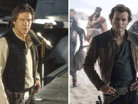 Han Duo! Harrison Ford surprises his Han Solo Star Wars successor Alden Ehrenreich mid-interview