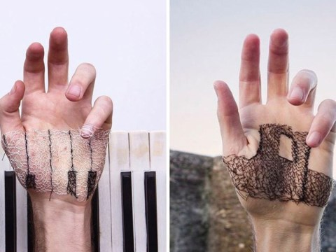 Artist takes hand stitching to a whole new level by literally stitching into his hand