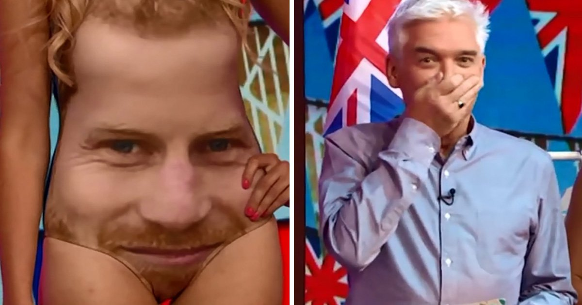 'I can't look at it': Phillip Schofield dissolves into giggles as he spots epic design gaffe with Prince Harry-themed swimsuit