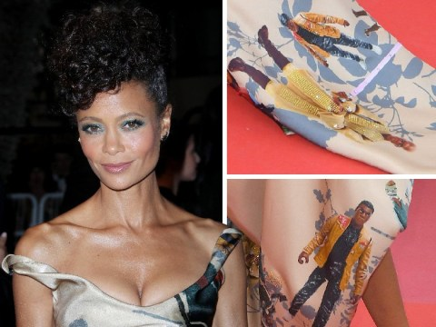 Thandie Newton wears dress illustrated with black characters from Star Wars to Solo premiere and it's badass