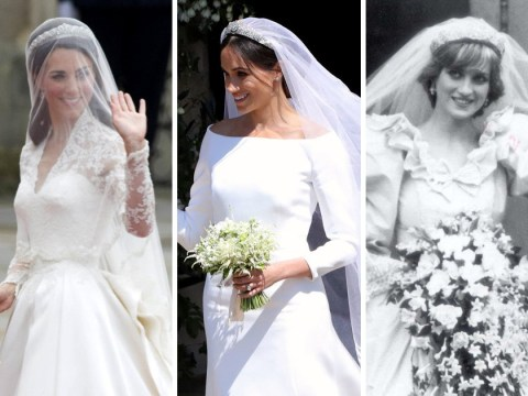 Meghan Markle's wedding dress compared to Kate Middleton's, the Queen's, Diana's and more – vote for your favourite