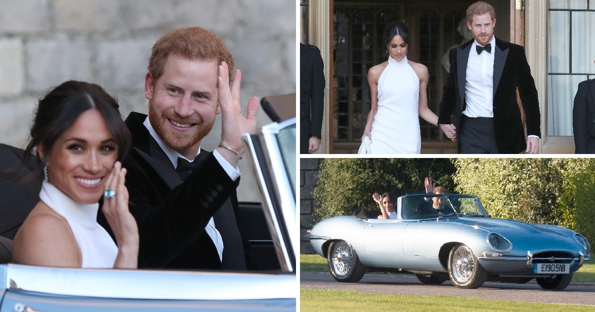 Harry and Meghan turn on the style as they drive to wedding reception in custom Jaguar