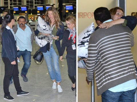 Gisele Bundchen hugs hero as he saves her from enthusiastic fan girl at airport
