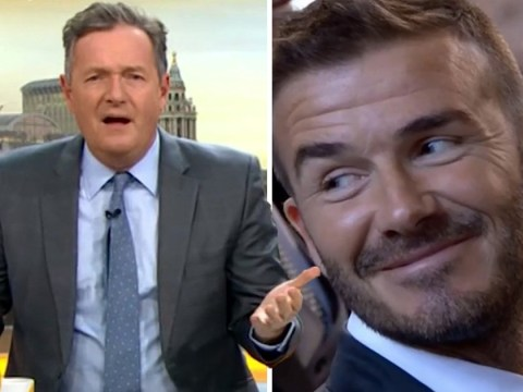 Piers Morgan reckons David Beckham will never get a knighthood chewing gum at weddings