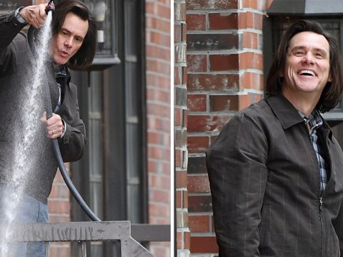 Jim Carrey gives his garden a good soaking as he gets back to work with longer locks