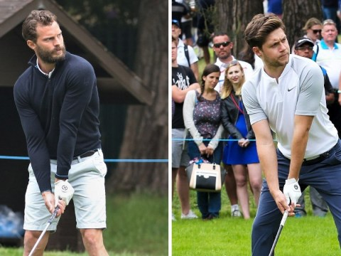 Niall Horan and Jamie Doran expertly strike perfect golf poses at 2018 BMW PGA Championship