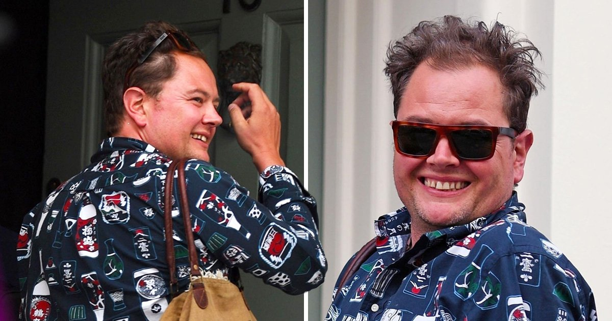 Alan Carr is all smiles as he heads to the pub in epic beer bottle shirt and we love him even more