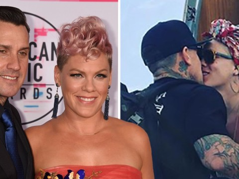 Pink and Carey Hart fancy a little PDA as they try to board their private jet