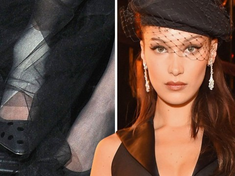 Bella Hadid teams flawless couture with ankle bandage and she still manages to look bombshell