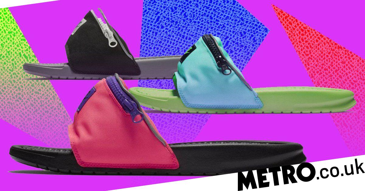 844805471c05a8 Nike Benassi fanny pack sandals have a very useful zip pocket on ...