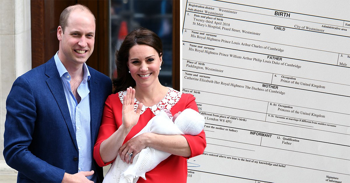 57908141c4 Kate Middleton s job confirmed on Prince Louis  birth certificate ...