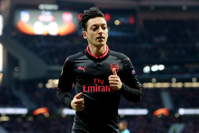 MADRID, SPAIN - MAY 3: Mesut Ozil, #11 of Arsenal during the UEFA Europa League Semi Final Second Leg match between Club Atletico Madrid and Arsenal FC at Wanda Metropolitano on May 3, 2018 in Madrid, Spain. (Photo by Sonia Canada/Getty Images)