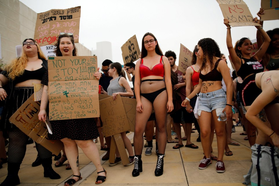 "Israelis participate in the annual ""Slut Walk"" protest against sexual violence and crimes in Tel Aviv, Israel, May 4, 2018. REUTERS/Corinna Kern"