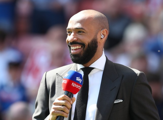 Sky TV pundit former player Thierry Henry during the premier league match at the Britannia Stadium, Stoke on Trent. Picture date 5th May 2018. Picture credit should read: Simon Bellis/Sportimage
