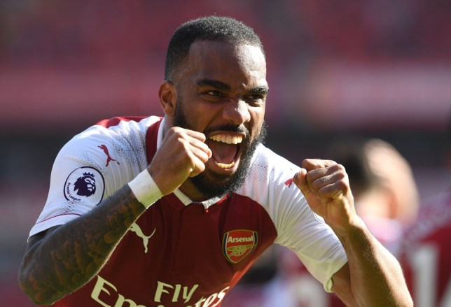 LONDON, ENGLAND - MAY 06: Alexandre Lacazette celebrates scoring Arsenal's 2nd goal during the Premier League match between Arsenal and Burnley at Emirates Stadium on May 6, 2018 in London, England. (Photo by David Price/Arsenal FC via Getty Images)