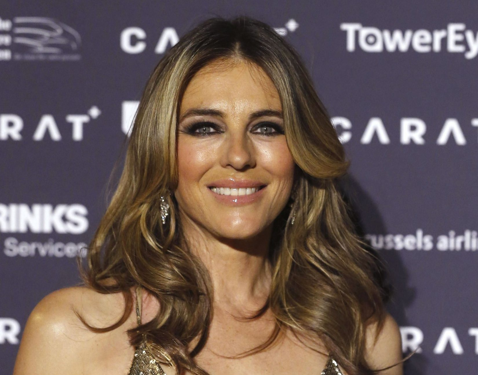 Mandatory Credit: Photo by Nicolas Maeterlinck/Belga via ZUMA Press/REX/Shutterstock (9664437k) Elizabeth Hurley 'Carat+' exhibition opening, Antwerp World Diamond Centre, Belgium - 06 May 2018