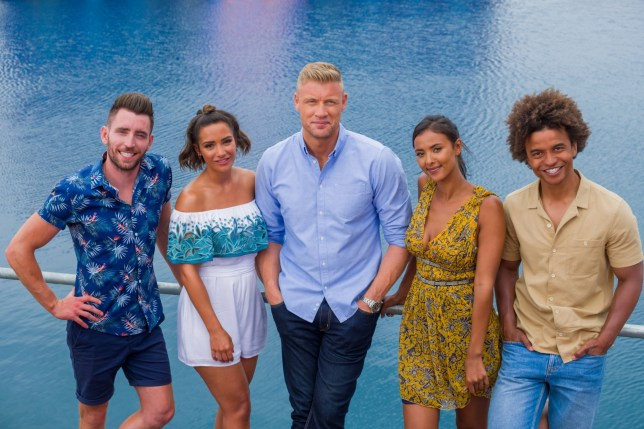 Editorial Use Only. No merchandising Mandatory Credit: Photo by ITV/REX/Shutterstock (9009167bq) Ryan Hand, Frankie Bridge, Andrew 'Freddie' Flintoff, Maya Jama and Radzi Chinyanganya. 'Cannonball' TV Series - Sep 2017 Cannonball is a new adrenaline-fuelled ITV game show, hosted by Freddie Flintoff, that sees contestants face a host of incredible inflatable obstacles and water-based challenges.