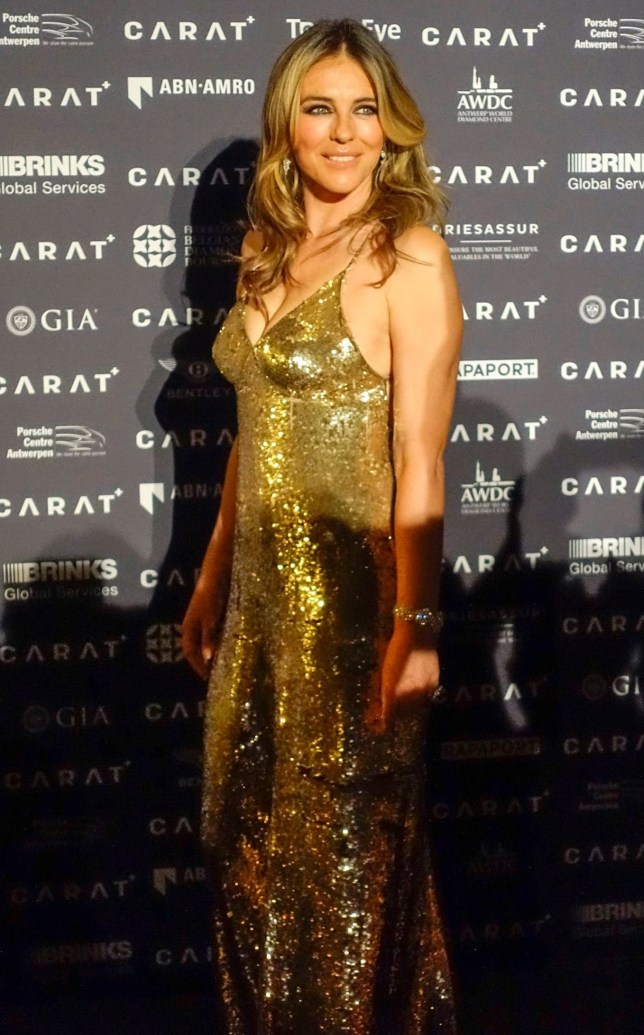 Mandatory Credit: Photo by Isopix/REX/Shutterstock (9664585q) Elizabeth Hurley 'Carat+' exhibition opening, Antwerp World Diamond Centre, Belgium - 06 May 2018