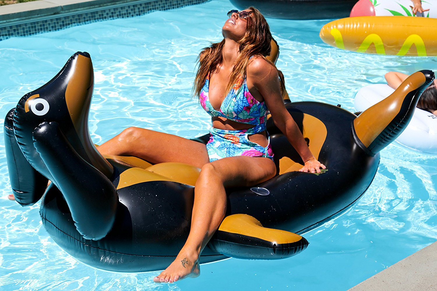 Kool Pool Pool Pup - Giant Premium Inflatable Dachshund Wiener Dog Doxie Sausage Dog Lounger Pool Float Mattress
