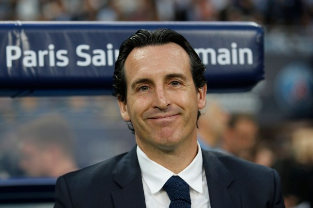 PSG head coach Unai Emery smiles before the French Cup soccer final Paris Saint Germain against Les Herbiers at the Stade de France stadium in Saint-Denis, outside Paris, Tuesday, May 8, 2018. (AP Photo/Francois Mori)