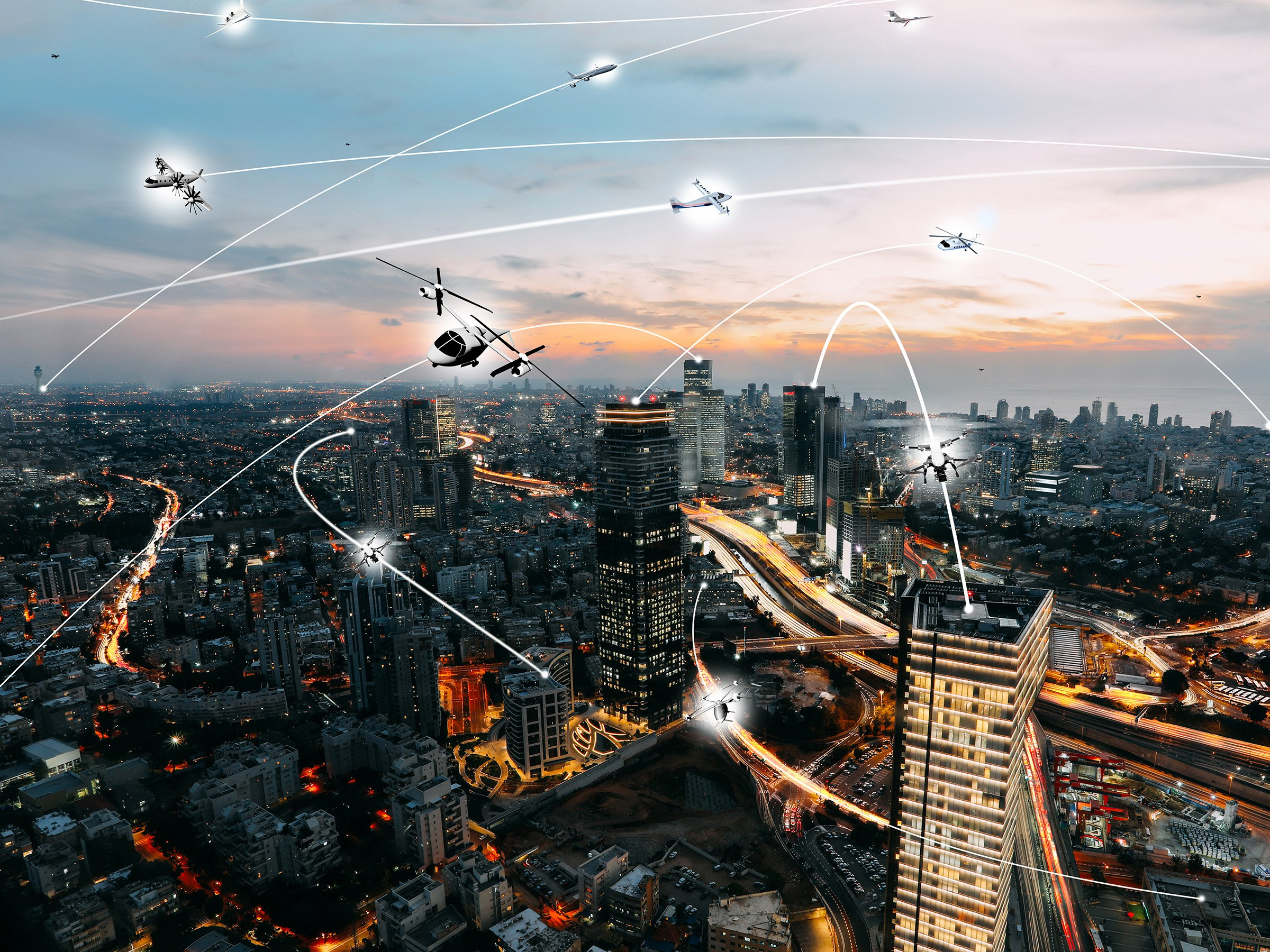 An artist?s conception of an urban air mobility environment, where air vehicles with a variety of missions and with or without pilots, are able to interact safely and efficiently. (Picture: Lillian Gipson/NASA)