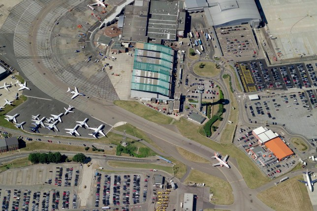 LUTON, UK - JULY 2006: An aerial image of London Luton Airport, Luton (Photo by Blom UK via Getty Images)