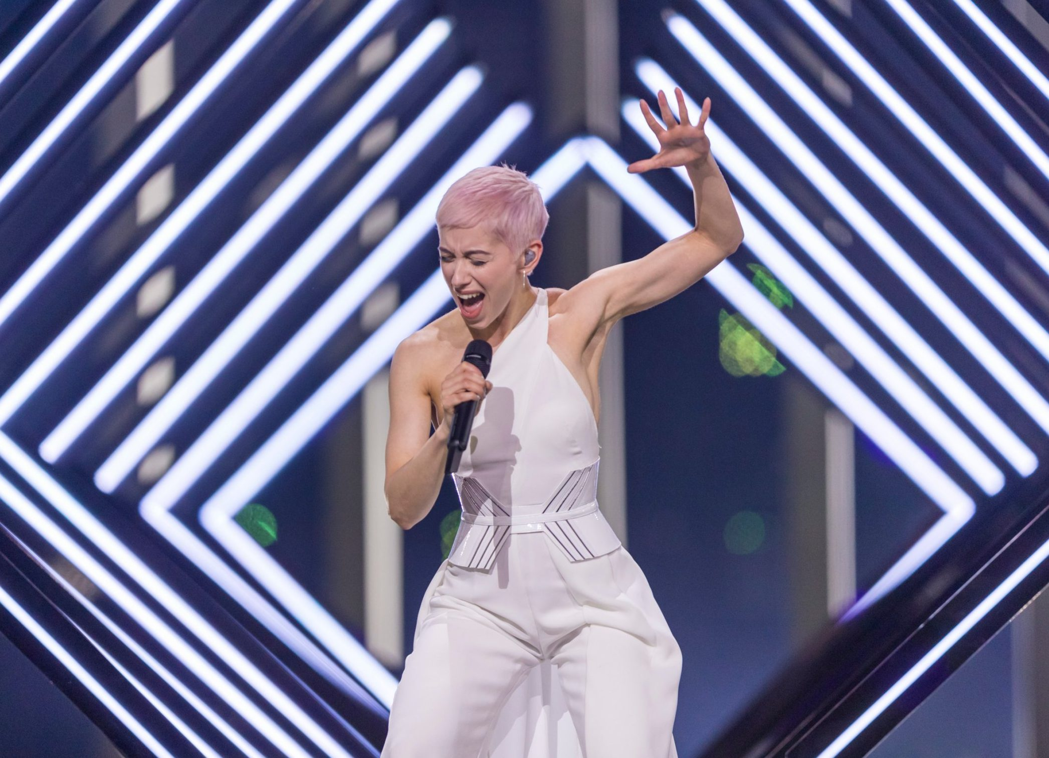Mandatory Credit: Photo by Rolf Klatt/REX/Shutterstock (9668881cb) SuRie of Greatbritain is performing her song 'Storm' during a dress rehearsal for the grand final of the Eurovision Song Contest Eurovision Song Contest Grand Final dress rehearsal, Lisbon, Portugal - 11 May 2018