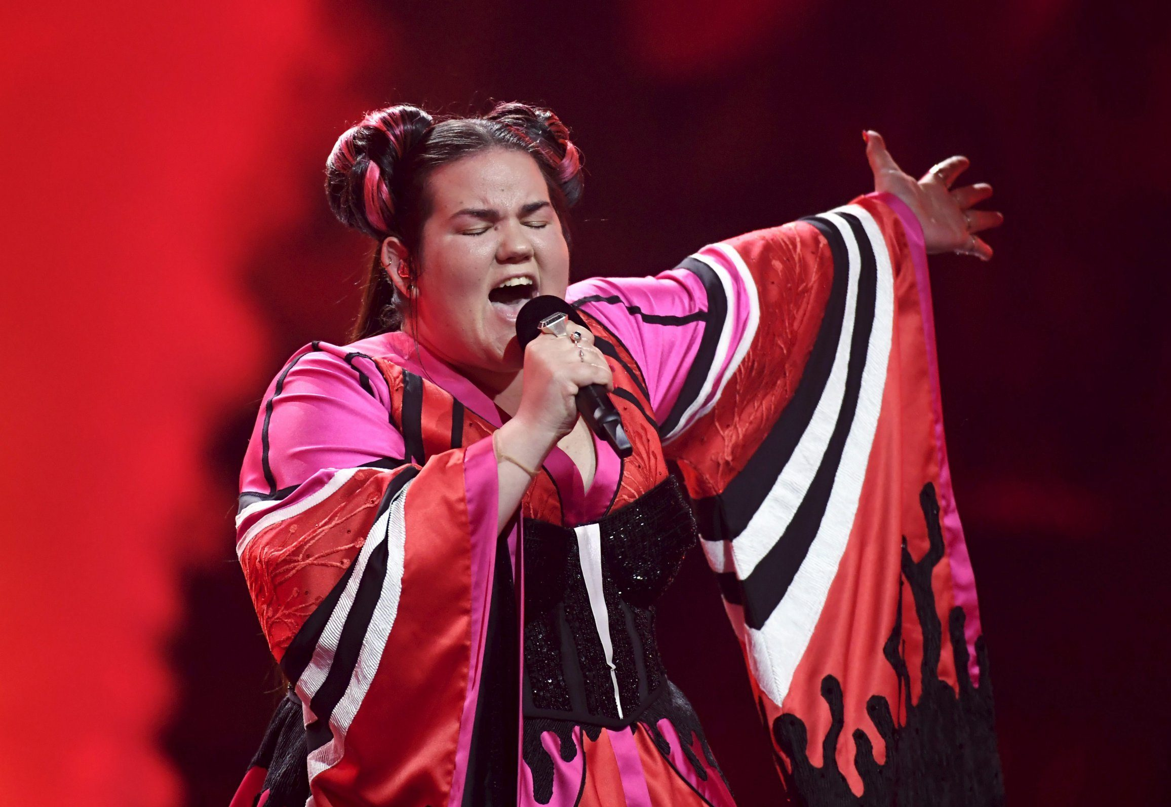Mandatory Credit: Photo by Markku Ulander/REX/Shutterstock (9669170m) Netta of Israel Eurovision Song Contest Grand Final dress rehearsal, Lisbon, Portugal - 11 May 2018